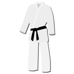 White kimono with black belt