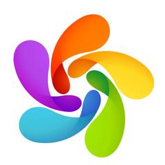 Sun logo. Five volume looped infinity logotype. Infinite loop.