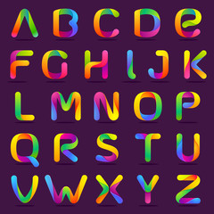 Fun english alphabet one line colorful letters set.