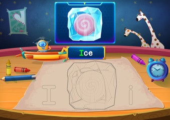 Illustration: Martian Class: I - Ice. The Martian in this picture opens a class for all Aliens. You must follow and use crayons coloring the outlines below. Fantastic Sci-Fi Cartoon Scene Design.