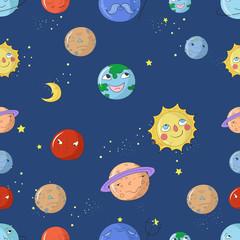 Seamless pattern cartoon planets vector