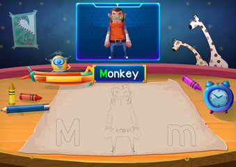 Martian Class: M - Monkey. Hello, I'm Little Martian. I just open a class for all Martians to learn English. Will you join us? Watch, Learn, and use crayons Coloring it so you can Remember Better!