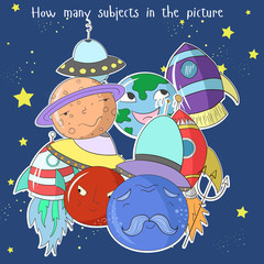 Poster Regenboog Educational game how many subjects do you see