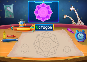 Illustration: Martian Class: O - Octagon. The Martian in this picture opens a class for all Aliens. You must follow and use crayons coloring the outlines below. Fantastic Sci-Fi Cartoon Scene Design.