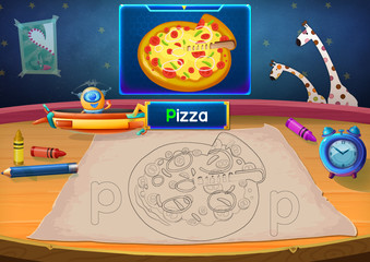 Illustration: Martian Class: P - Pizza. The Martian in this picture opens a class for all Aliens. You must follow and use crayons coloring the outlines below. Fantastic Sci-Fi Cartoon Scene Design.