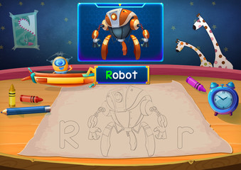 Illustration: Martian Class: R - Robot. The Martian in this picture opens a class for all Aliens. You must follow and use crayons coloring the outlines below. Fantastic Sci-Fi Cartoon Scene Design.