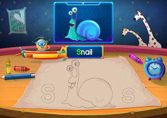 Illustration: Martian Class: S - Snail. The Martian in this picture opens a class for all Aliens. You must follow and use crayons coloring the outlines below. Fantastic Sci-Fi Cartoon Scene Design.