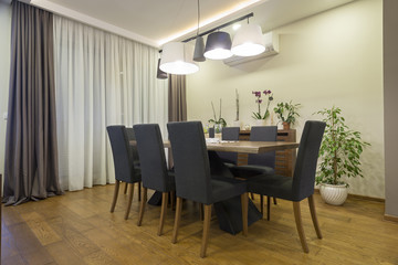 Dining room interior in modern apartment