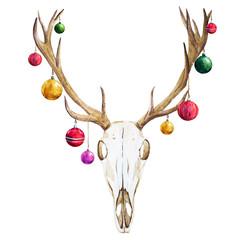 Christmas deer skull