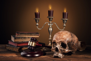 Still life art photography on human skull skeleton