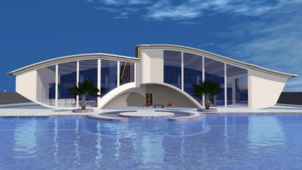 Moderne Villa im futuristischen Stil