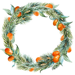 Vector watercolor christmas wreath