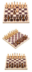Set of a chess with a chess board isolated on a white background