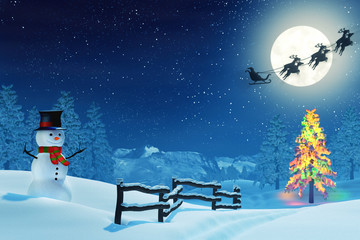 A snowman in a moonlit snowy Christmas landscape at night