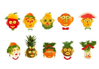 Creative set of food concept. A few  funny portraits from vegeta