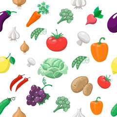 Vegetables and fruits seamless pattern. Radishes with eggplant