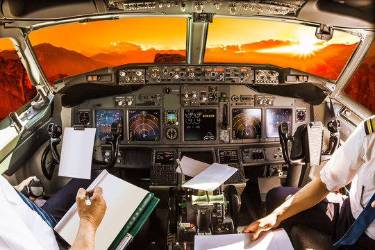Cockpit at sunset