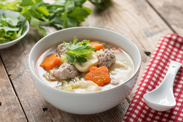 Thai food, Clear Soup with Vegetables and Meatballs in white bow