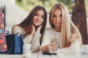 Two young women at cafe looking at pictures of new gadgets