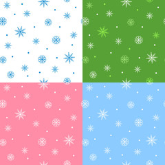 New year Christmas snowflake blue white pink green seamless pattern illustration vector