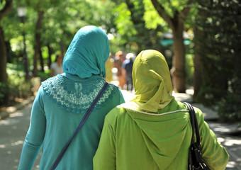 Two veiled muslim women