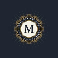 Monogram design elements, graceful template. Elegant line art logo design. Emblem Letter M. Retro Vintage Insignia or Logotype. Business sign, identity, label, badge, Cafe, Hotel. Vector illustration