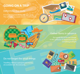 Goinng on a trip. Travel flat design banner set with bag, passport, glasses, mask, shirt, compass, hat, bikini and other.