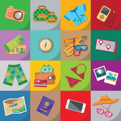 Travel flat icon set with bag, passport, glasses, mask, shirt, compass, hat, bikini and other.