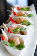salmon and shrimps with fish sauce, Thai food