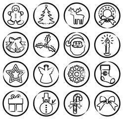 Sammlung: Runde, schwarz-weiße, weihnachtliche Buttons / Zeichnung, Skizze, Liniensymbol / Vektor, freigestellt