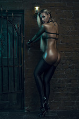 Sensual blonde woman in black lingerie