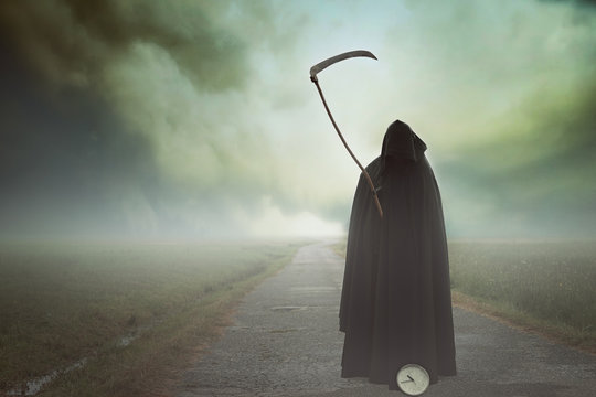 Death with scythe in a surreal landscape