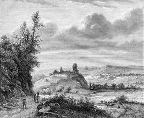 View of Borghetto, Romans States, vintage engraving.