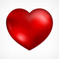 Big red heart isolated on white, illustration