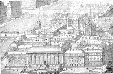 View the crow flies from Paris courthouse, vintage engraving.