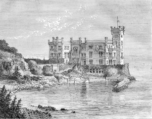 The Castle of Miramar, in the Gulf of Trieste, vintage engraving