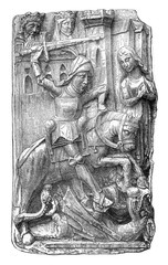 Saint George slaying the dragon, bas-relief of the Saint-Ouen ch