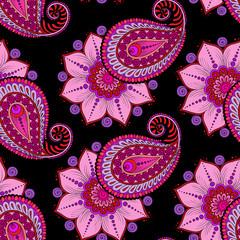 Henna Mehendi Doodles Seamless Pattern on a dark pink background