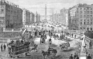 View of Dublin, drawing of saddler, vintage engraving.