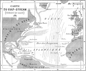 Map of Gulf Stream, vintage engraving.