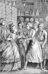 Interior groceries in the eighteenth century, vintage engraving.