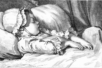 The Sleep of a girl, After kind of study by Moreau the Younger,