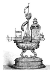 Automatic Clock of the sixteenth century, vintage engraving.