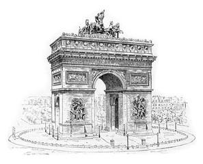 Arc de Triomphe, vintage engraving.
