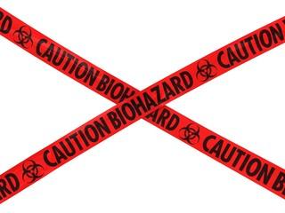 Red CAUTION BIOHAZARD Barrier Tape Cross