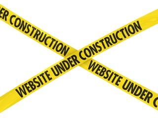 Yellow Website Under Construction Barrier Tape Cross