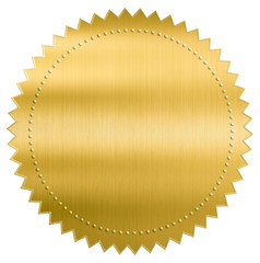 gold metallic foil seal label or sticker with clipping path