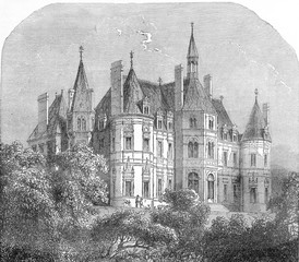 Castle of Boursault, vintage engraving.