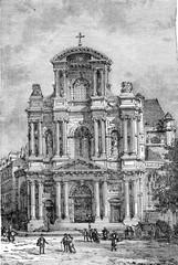 Portal of Saint-Gervais, vintage engraving.
