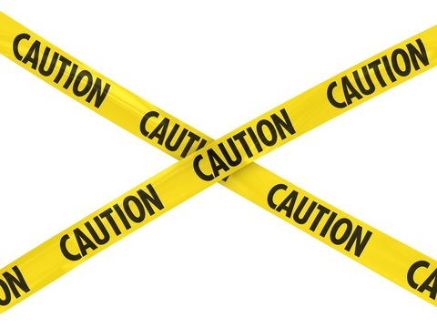 Yellow CAUTION Barrier Tape Cross